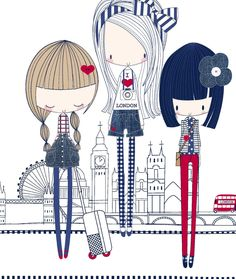 All about surface pattern ,textiles and graphics: A few more red white & blue girls Fashion illustration Art And Illustration, Illustration Children, Girl Cartoon, Surface Pattern, Red White Blue, Cute Drawings, Cartoon Drawings, Cute Art, Art For Kids