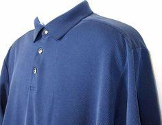 Tommy Bahama Mens Tiny Cheked Blue Hawaiian Polo Shirt Size L EUC  #TommyBahama #Polo