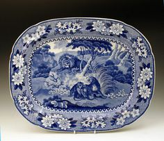 BLUE AND WHITE PLATTER WITH LIONS BY ADAMS C1820