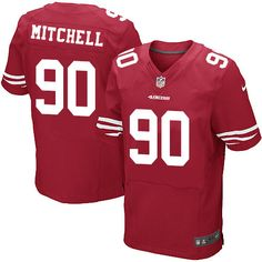 Men's Nike San Francisco 49ers #90 Earl Mitchell Elite Red Team Color NFL Jersey