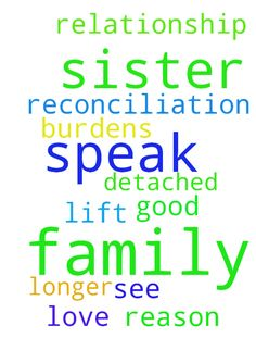 Family relationship -  I need prayers for a reconciliation with my sister. For some reason she has detached herself from our family and no longer speaks with my sisters or I. Please pray that the good Lord can help her see the love of her family and lift her burdens so she will speak with us again.  Posted at: https://prayerrequest.com/t/LbV #pray #prayer #request #prayerrequest