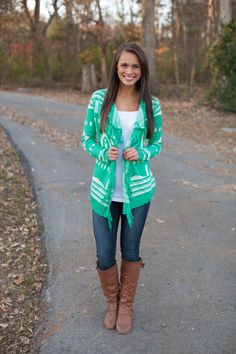 The Pink Lily Boutique - A Turning Point Fringe Cardigan Green, $42.00 (http://www.thepinklilyboutique.com/a-turning-point-fringe-cardigan-green/)