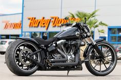 A customized Harley Davidson Softail Breakout.