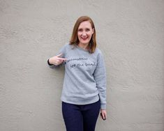 Not sure if working remotely is causing a slow backslide of my fashion sense, but I am all about this sweatshirt. Pattern: McCall's Miss. Graphic Sweatshirt, Silhouette Portrait Machine, Printed Sweatshirts, Hoodies, Tiny Dancer, Princess Seam, Fabric Design, Printing On Fabric, Hoodie