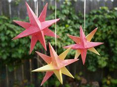 origami facile: étoile 3d à 8 branches en 2 étoiles collées ensemble