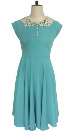 Beautiful vintage inspired Hell Bunny Emilie Dress in Aqua.