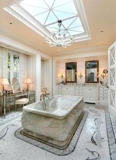 Solid Marble Tub Loving The Skylight Amazing Master Bathroom