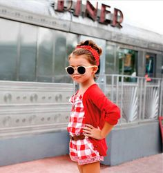 """I always give in to Quinoa's begging. First she wanted only the retro romper, quickly followed by the sunglasses, headscarf, and '50s diner as accessories. I'm such a sucker."""" #miwdtd"""