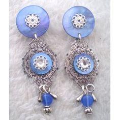 Boucles d'oreilles clips India bleue