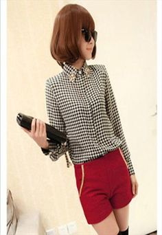 Classic Shirt With Embellished Collar (Houndstooth)