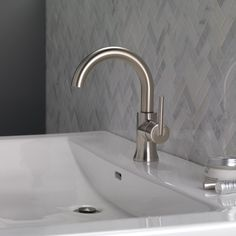 Delta Trinsic Single Hole Bathroom Faucet with Drain Assembly and Diamond™ Seal Technology Finish: Stainless Vessel Sink Bathroom, Widespread Bathroom Faucet, Bathroom Faucets, Master Bathroom, Bathrooms, Pex Plumbing, Plumbing Fixtures, Delta Trinsic, Advanced Ceramics