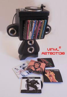 """Vinyl Toys, Art, Culture, & Everything Inbetween: ARTBOT138's """"VINYL²"""" custom MAD*L as a record player for The Vinyl Thoughts Art Show 5!"""