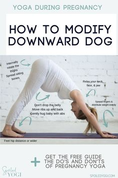 Downward Facing Dog for Two? Yes! Downward Facing Dog Pose is a wonderful pose for prenatal yoga or pregnancy yoga--but you need to make a few tweaks! This post will show you exactly how to modify Down Dog throughout your pregnancy, give you tips on how to change things up for common pregnancy aches and pains, and offer a few alternative poses if Down Dog starts to feel less than great in your body. #prenatalyoga #downwardfacingdog #fitpregnancy Pregnancy Yoga Poses, Yoga During Pregnancy, Pregnancy Workout, Mom And Baby Yoga, Yoga Mom, Puppy Pose Yoga, Asana Yoga Poses, Prenatal Yoga, Yoga Poses For Beginners
