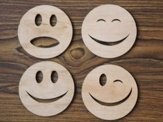 Smiling face Coaster - Laser Cut Wood Coasters - Set of 4 - Personalized Gift, Holiday Gift Box - Timber Green Woods - B003 by WXWoodenStyleHome on Etsy https://www.etsy.com/listing/280120082/smiling-face-coaster-laser-cut-wood