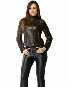 Tight brown leather jacket black leather pants