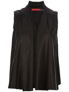 Alice+olivia Sleeveless Combo Jacket - Stylesuite - Farfetch.com[consider doing in rev stockinette and extending mandarin collar to v neck & cap sleeves]