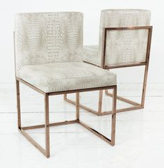 007 Dining Chairs in White Faux Croc Leather