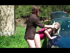 Blonde Milf sucks and fucks a dick outside