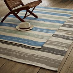 summer stripe printed cotton rug. $29