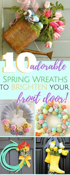 Check out these adorable spring wreaths that will brighten your door! Perfect for Easter decorating. Unique styles