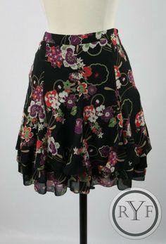 Pretty ANN TAYLOR LOFT Black FLORAL Knee Length ALINE Dress SKIRT 0P 0 PETITE