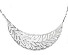Zales Curved Leaf Cutout Bib Necklace in Sterling Silver - 17.5""
