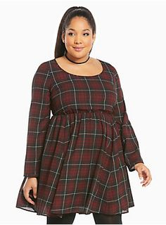 "We're pretty sure the only thing better than plaid is more plaid. This lined skater dress gets tarty with a black and red plaid chiffon overlay and stays covered with long sleeves and flattered with a stretchy waist. A skin-baring crossback shows off.<div><br></div><div><b>Model is 5'10"", size 1<br></b><div><ul><li style=""LIST-STYLE-POSITION: outside !important; LIST-STYLE-TYPE: disc !important"">Size 1 measures 39"" from shoulder</li><li style=""LIST-STYLE-POSITION: outside !import..."
