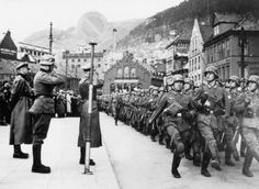 9 April 1940 - Germany invades Norway - German troops marching in Bergen, Norway - Germans land in several Norwegian ports and take Oslo; The Norwegian Campaign lasts 2 months. The British begin their Norwegian Campaign.