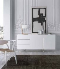 Modern sideboard with drawers and 2 doors, finished in 12 high gloss options Modern Sideboard, Sideboard Buffet, Credenza, Contemporary Bedroom Decor, Contemporary Furniture, Buffets, Nassau, Urban Deco, Home Office Bedroom