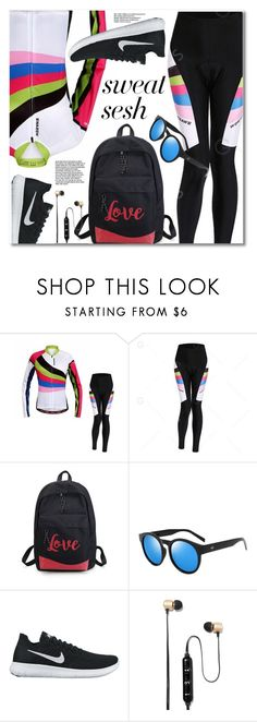 """Sweat Sesh: Gym Style"" by fshionme ❤ liked on Polyvore featuring NIKE, Polaroid and sweatsesh"