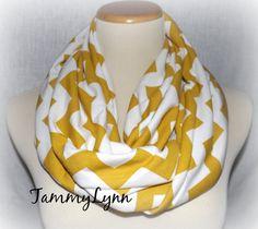 Mustard Chevron on White InfinityScarf by tammylynnscreations, $16.00