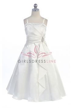 Ivory Brilliant Satin Ruffle Detail A-line Flower Girl Dress with Sparkles SG-4305-IV on www.GirlsDressLine.Com