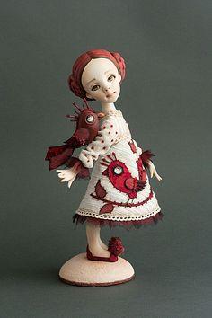 Polymer Clay Dolls, Birds 2, Cute Dolls, Rubrics, Christmas Ornaments, Toys, Holiday Decor, Magical Creatures, Fairies