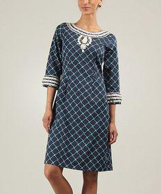 Another great find on #zulily! Navy & Turquoise Katarina Three-Quarter Sleeve Dress #zulilyfinds