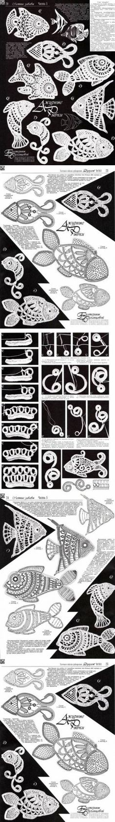 Collection motifs: fish in the technique of Irish lace   SAMOBRANOCHKA - site for the needle women, masters   Ирландское кружево.   Постила