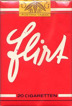 Flirt cigarette pack, cool script