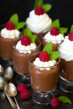 Chocolate Mousse One of my all time favorite treats is chocolate mousse. If only it were calorie free and I could eat it every single day, but sometimes you've just got toOne of my all time favorite treats is chocolate mousse. If only it were calorie free Mini Dessert Cups, Mini Desserts, Christmas Desserts, Chocolate Desserts, Easy Desserts, Delicious Desserts, Yummy Food, Plated Desserts, French Desserts