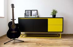 Midcentury modern sideboard  black and yellow