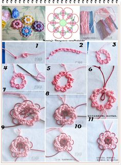Flor cascabel china, crochet flowers for beadwork Embroidery Stitches Tutorial, Hand Embroidery Flowers, Flower Embroidery Designs, Embroidery Techniques, Ribbon Embroidery, Embroidery Patterns, Macrame Bracelet Patterns, Diy Couture, Brazilian Embroidery