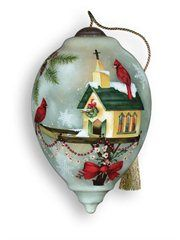 "Ne'Qwa ""Let Heaven and Nature Sing"" Hand-Painted Glass Christmas Ornament"
