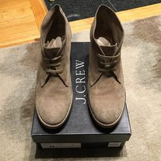 J.Crew Macalister high-heeled ankle boots in nut Comfortable and stylish rubber heeled booties in tan suede color. In excellent condition!!! J. Crew Shoes Ankle Boots & Booties