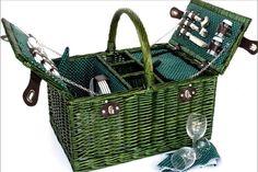 Cesta verde cuadrada de picnic para 4 personas