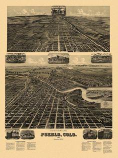 Antique Map of Pueblo Colorado Poster 1890 Pueblo County