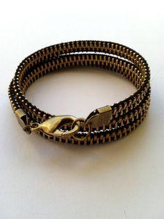 Black and Brass Zipper Wrap Bracelet by ArtologieDesigns on Etsy, $25.00