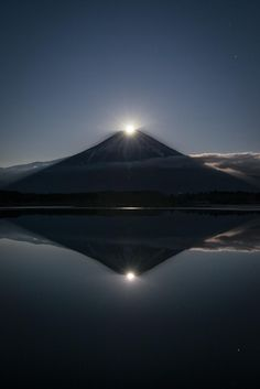 "de-preciated: ""Double Fantasy (by Yuga Kurita) The moon overlapping with the top of Fuji is called Pearl Fuji (in the case of the sun, it is called Diamond Fuji) in Japan. Pearl Fuji reflected in the. Cool Pictures, Cool Photos, Beautiful Pictures, Monte Fuji, Image Nature, Beautiful Places In The World, Amazing Nature, The Great Outdoors, Wonders Of The World"
