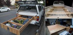 Transforming a regular Toyota Tacoma truck into a vehicle ready for climbing and off-road adventure is the perfect DIY project for all of the . Truck Bed Trailer, Truck Bed Tent, Truck Bedroom, Truck Bed Storage, Truck Bed Camping, Camping Set Up, Camping Ideas, Flatbed Trailer, Camping Recipes