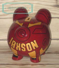Alphadorable: Custom Super Hero and Star Wars Hand painted piggy banks. Metallic Gold Paint, Ironman, Piggy Banks, Pottery Painting, Boba Fett, Design Art, Spiderman, Custom Design, Star Wars