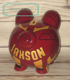 Alphadorable: Custom Super Hero and Star Wars Hand painted piggy banks...Ironman, Spiderman, Boba Fett