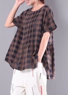 b2c03772 Chocolate plaid wrinkled cotton tops plus size casual tops short sleeve t  shirt