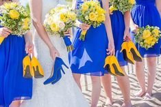 Cobalt+Blue+and+Yellow+Wedding+in+Moncton,+New+Brunswick+via+Styled+In+Lace #weddingthemes Electric Blue Weddings, Blue Yellow Weddings, Yellow Wedding Colors, Yellow Wedding Dresses, Dress Wedding, Wedding Reception, Blue Sunflower Wedding, Blue Wedding Flowers, Yellow Bridesmaids